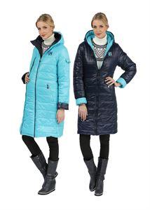 Изображение Зимняя куртка 2в1 Laura Bruno двухсторонняя сине-голубая  для беременных, обычная
