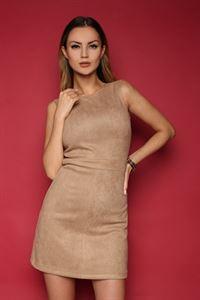 Изображение Платье FH30068 под замшу цвет: бежевый
