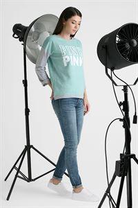 """Bild von Sweatshirt """"Evelina"""" Print pink Farbe: Minze"""