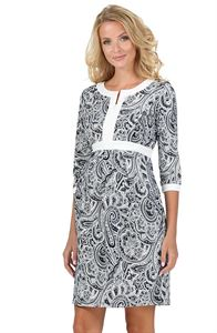 """Picture of """"Chiara"""" Maternity and nursing dress; color: color: blue / patterns"""