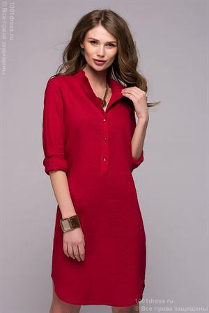 Изображение Платье DM00772RD красное длины мини с разрезами по бокам