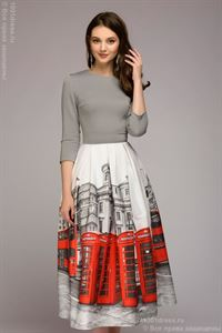 Picture of Midi length dress DM00884GY; color: gray / print London