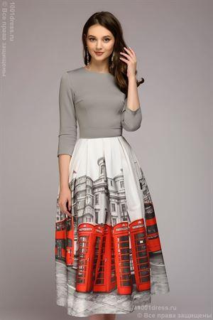Изображение Платье DM00884GY длины миди; цвет: серый/принт Лондон