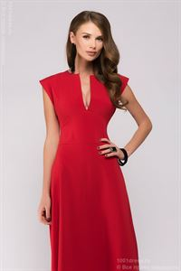 Picture of Maxi length dress DM00697RD with deep neckline; color: red