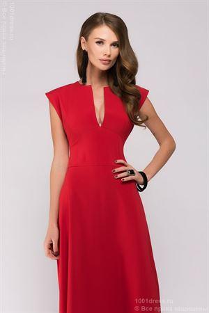 Изображение Платье DM00697RD длины макси с глубоким декольте; цвет: красный