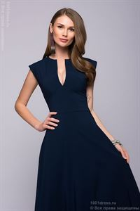 Picture of Maxi length dress DM00697DB with deep neckline; dark-blue Colour