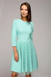 Изображение Платье DM00926MN длины мини с декоративной отделкой  ; цвет: мятный