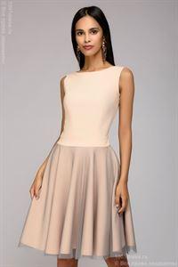 Изображение Платье DM00943PW длины мини с бантиками на спине; цвет: пудра