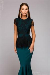 Bild von Maxime Kleid DM00901GR mit Spitze oben; Farbe: grün / schwarz