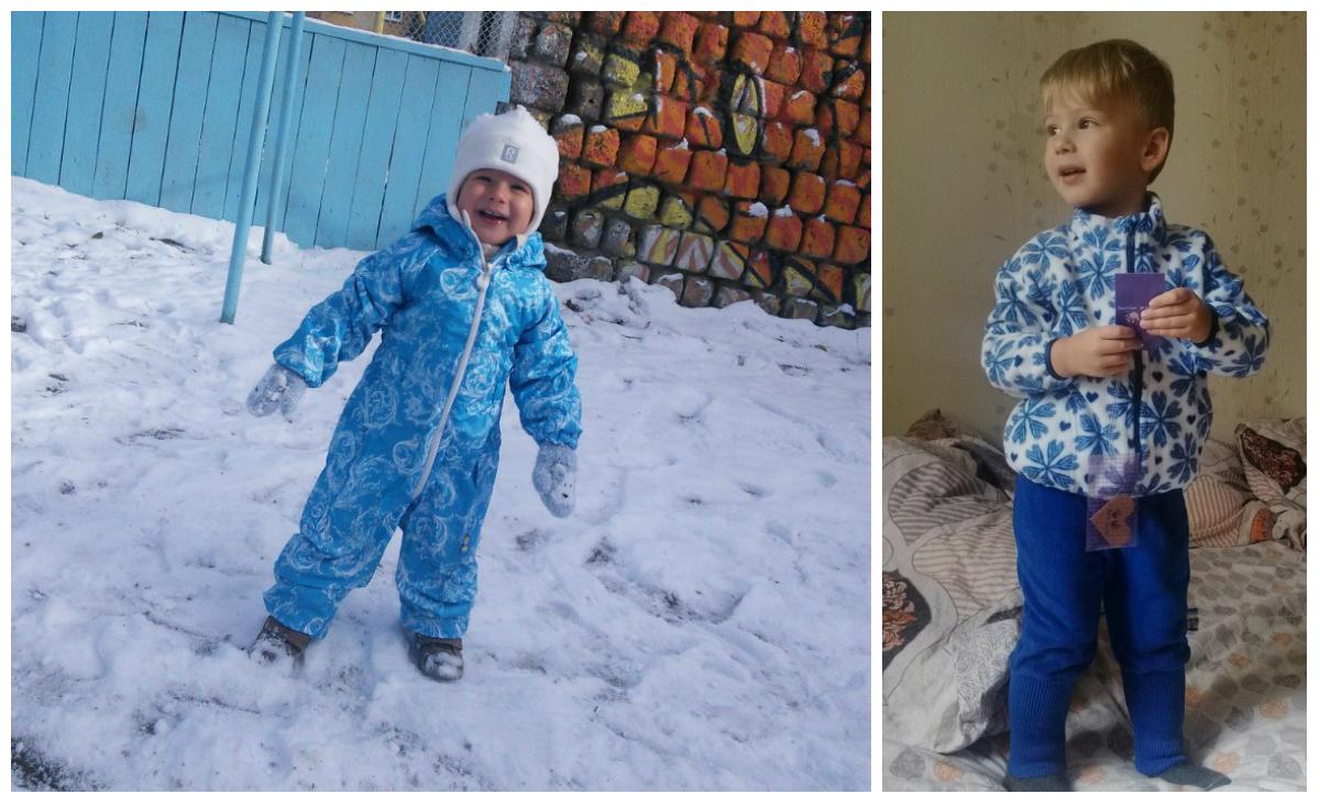 """Анна (г. Екатеринбург): """"Это почти год назад, покупали комбинезон тоже в Уралмаме. До сих пор носим, отличный комбез! А это свежий комплект: кофточка и шаровары. Зимой будет тепло :)"""""""