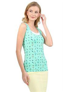 "Bild von MH01 ""Klassische"" Stillunterhemd; Farbe: Smaragd/Vögel"
