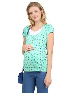 Picture of Agnes maternity and nursing T-shirt ; color: emerald/birds
