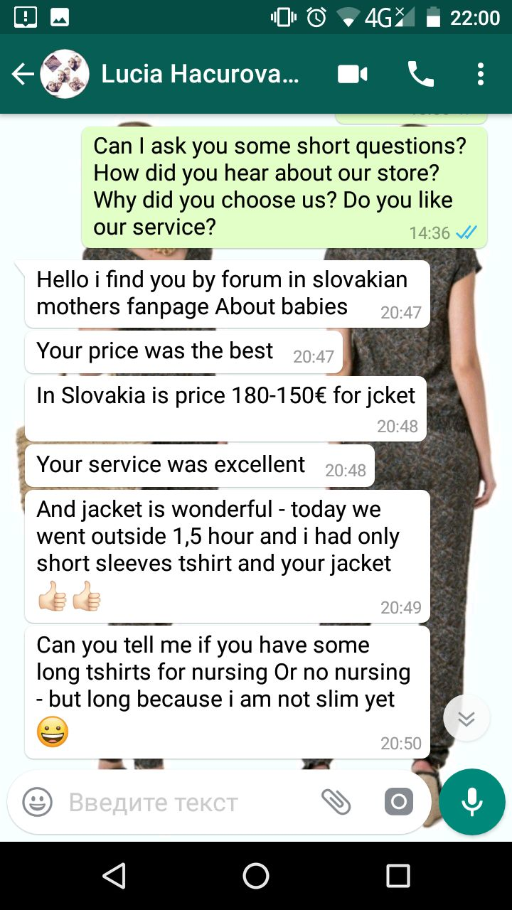 "Lucia (Slovakia,Словакия): ""Hello i find you by forum in slovakian mothers fanpage About babies. Your price was the best! Your service was excellent! And jacket is wonderful - today we went outside 1,5 hour and i had only short sleeves tshirt and your jacket!"""