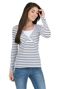 """Picture of long sleeve """"mindy"""" for nursing; color: white stripe"""