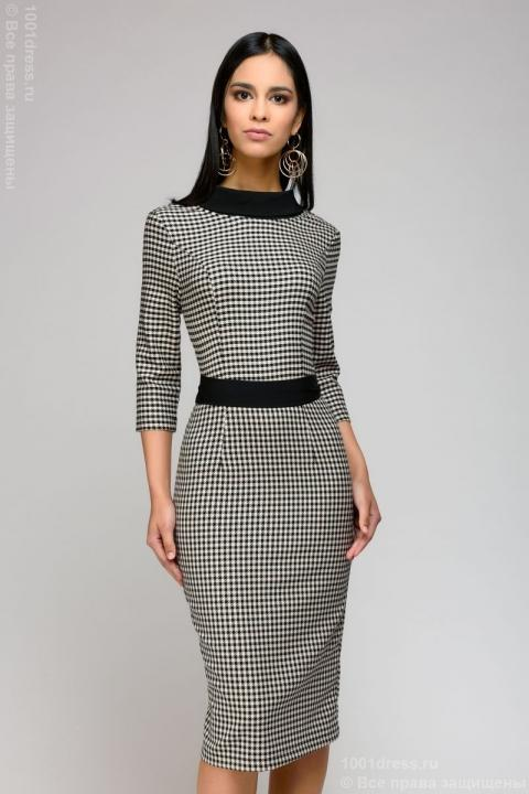 V Neck Houndstooth Dress