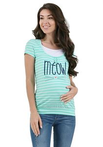 Picture of Agnes maternity and nursing T-shirt ; color: menthol / white