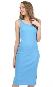 """Изображение Платье """"Кашкорсе"""" для беременных и кормящих голубой"""