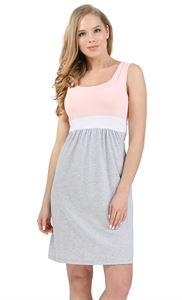 """Изображение Платье """"Триколор"""" для беременных и кормящих пудровый серый меланж"""
