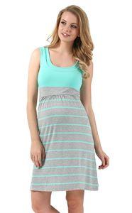 """Изображение Платье """"Триколор"""" для беременных и кормящих серый меланж ментол полоса"""