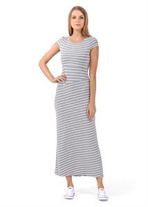 """Изображение Платье """"Вояж"""" для беременных и кормящих; цвет: серый меланж/белый"""