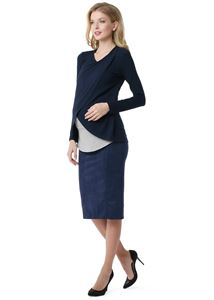 """Изображение Юбка """"Дермис"""" для беременных иск. замша; цвет:  т.синий"""