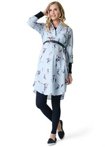 """Picture of Dress """"Valentine"""" maternity; color: blue / bird"""