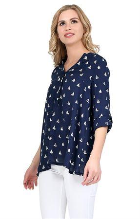 """Изображение Блуза """"Девика"""" т.синяя для беременных и кормящих"""