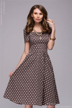 Изображение Платье DM00357BG бежевое в горошек в ретро-стиле длины миди