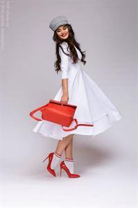 Изображение Платье DM00923WH длины миди с глубоким вырезом ; цвет: белый