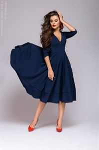 Picture of Midi length dress DM00923DB with deep cut; dark-blue colour