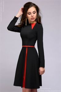 Picture of Dress DM01063BK black mini length with a red skirt