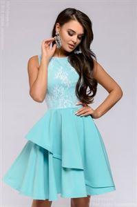 Изображение Платье DM00662TY длины мини с кружевным верхом; цвет: тиффани