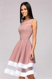 Изображение Платье DM00843SP пепельной розы без рукавов с белой отделкой