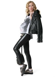 """Изображение Брюки """"Френч"""" для беременных, обычные; цвет: черный/экокожа"""