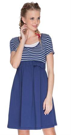 """Изображение Платье """"Ксантия"""" синее с полосой для беременных и кормящих"""