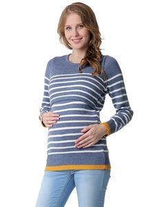 Obrázek Lassie jumper pro těhotné a kojící ženy; barva: denim / bílá