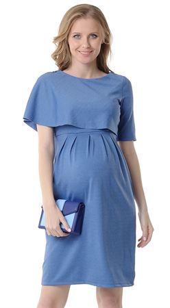 """Изображение Платье """"Белинда"""" для беременных и кормящих; цвет: синий меланж"""