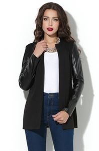 Picture of Cardigan DSK-05-4 black with sleeves of synthetic leather