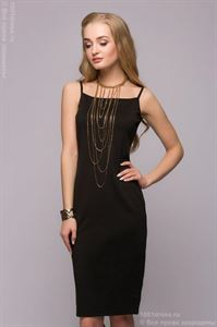 Picture of Set DM00666BK from dress with straps and top with long sleeves in black color