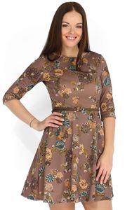 "Picture of  ""Gloris"" Nursing brown dress with flowers"