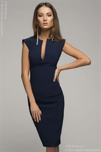 Picture of DM00015BL dress bodycon sleeveless with V-neck