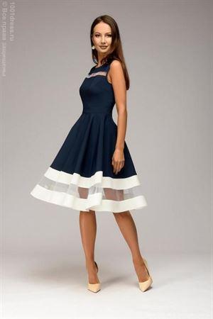 Изображение Платье DM00843DB темно-синее без рукавов с белой отделкой
