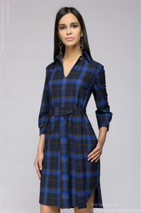Picture of Dress DM01025DB shirt tiered dark blue checkered