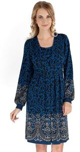 """Picture of """"Chateau"""" Maternity blue dress with gray pattern"""