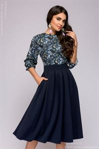 """Изображение Платье DM00234BL синее длины миди с принтованным верхом и рукавом """"летучая мышь"""""""