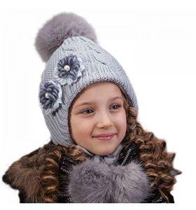 Image de Детская шапочка с большим помпоном и завязками серая