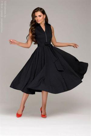 Изображение Платье DM00560DB Темно-синее в мелкий горошек длины миди без рукавов
