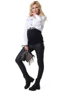 """Picture of Trousers """"York"""" for pregnant women; color: black material """"eco-leather"""""""