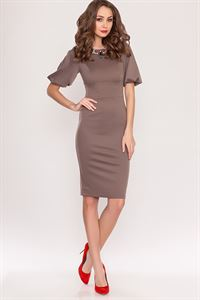 Picture of Dress bodycon DSP-169-39 dark mocha with a lush sleeve