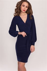 Изображение Платье DSP-36-41 т.синее с запахом
